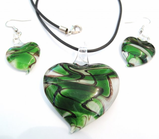Green Black Swirl Murano Glass Heart Necklace Earrings Set NP95