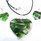 Green Black Swirl Murano Glass Heart Necklace Earrings Set NP95