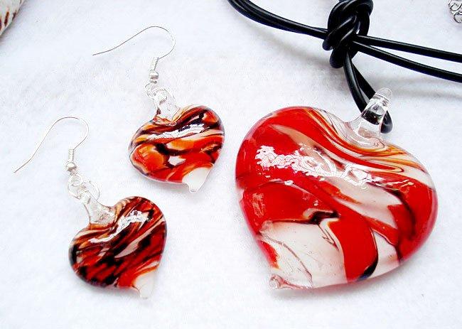 RED Black Swirl Murano Glass Heart Necklace Earrings Set NP96