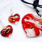 RED Black Swirl Murano Glass Heart Necklace Earrings Set NP96