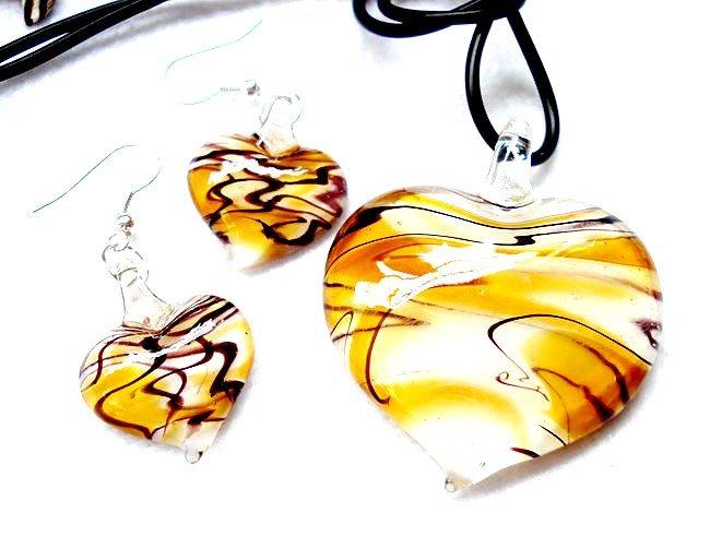 GOLD Black Swirl Murano Glass Heart Necklace Earrings Set NP97