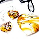 GOLD Black Swirl Murano Glass Heart Necklace Earrings Set NP97