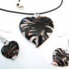 Black White Swirl Murano Glass Heart Necklace Earrings Set NP98