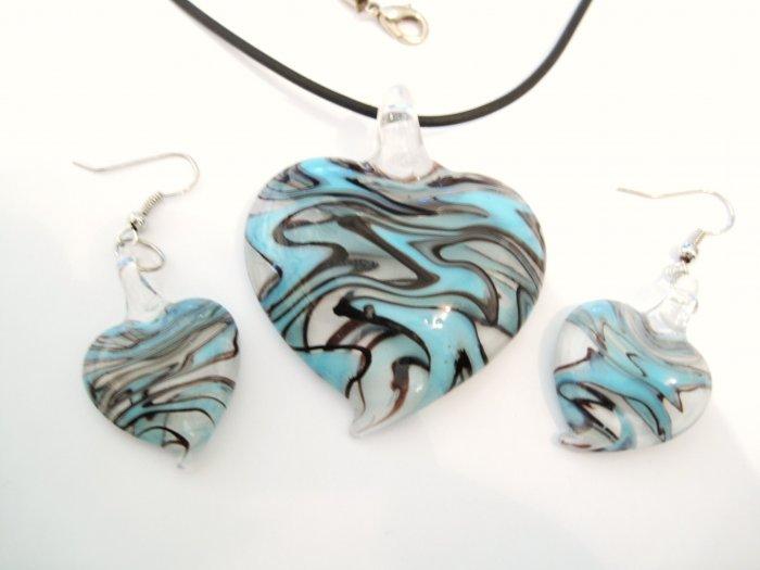 Aqua Black Swirl Murano Glass Heart Necklace Earrings Set NP100