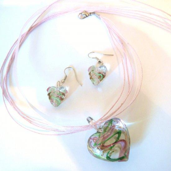 3D Green/Pink Murano Glass Heart Necklace & Earrings SET NP103