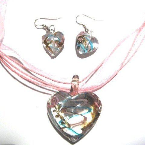 3D Blue/Pink Murano Glass Heart Necklace & Earrings SET NP105