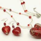 Red Murano Glass 3D Heart Beaded Nekclace and Earrings Set NP157