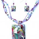 Colorful Romantic Scene Love Pendant Necklace and Earrings Set NP137