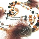 Fur and Beads Necklace and Earrings Set NP114