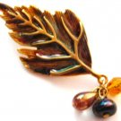 "2"" Large Colorful Autumn Leaf Iridescent Enamel Crystal Brooch Pin Broach BP62-5"