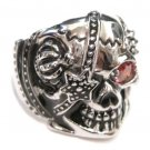 Heavy Stainless Steel Red CZ Skull Biker Ring SSR4416