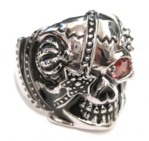 Heavy Stainless Steel Red CZ Skull Biker Ring SSR4416