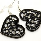 Trendy Black Filigree Clear CZ Heart Dangle Earrings EA06
