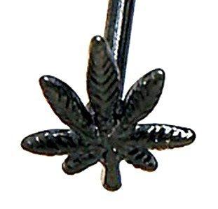 Black Titanium Anodized 3D Pot Leaf Tongue Ring Barbell BJ74