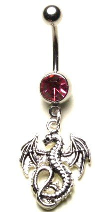 Sparkling Pink Crystal Gothic DRAGON Dangle Belly Ring BJ25