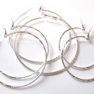 3 Pairs Assorted Trendy Silver Hoop Earrings EA82
