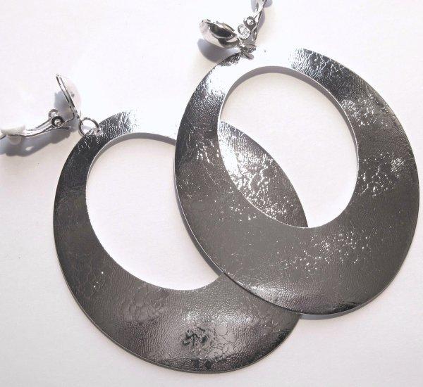 3.5 inch Silver Textured Dangle Clip On Earrings EA89