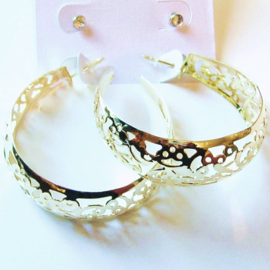2 Prs CZ Stud and Filigree Hoop 14K Gold EP Earrings Set EA94