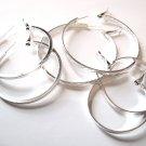 3 Pairs Assorted Trendy Silver Hoop Earrings EA96
