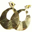 3 inch Wavy Textured 14K Gold EP Clip on Earrings EA100