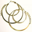Sparkling CZ Double Hoop 14K Gold EP Earrings EA102