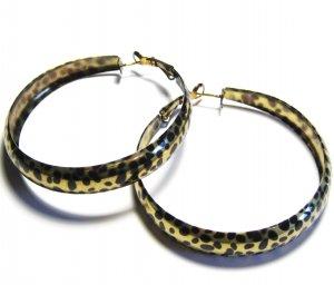 Black Gold Leopard Print Hoop Earrings EA105