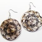 "2"" Unique Pattern Genuine Shell Dangle Earrings EA126"