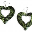 Green 2.25 inch Wavy Heart Shape Dangle Earrings EA135