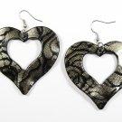 Silver 2.25 inch Wavy Heart Shape Dangle Earrings EA137