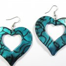 Aqua 2.25 inch Wavy Heart Shape Dangle Earrings EA138