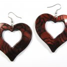 Burgundy 2.25 inch Wavy Heart Shape Dangle Earrings EA139