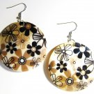 "2"" Flower Power Pattern Dangle Shell Earrings EA153"