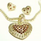 Crystal Heart Gold Mesh Necklace Set NP08