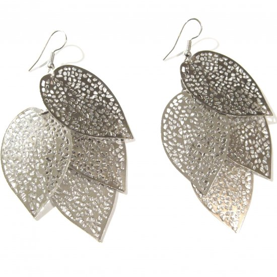 3 inch Filigree Leaf Cascade Dangle Earrings EA31