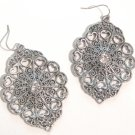 "2.75"" Antique Silver Victorian Style Filigree CZ Dangle Earrings EA43"