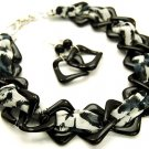 Woven Animal Print Fabric Lucite Link Necklace Earrings NP904
