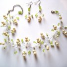 Adorable Ivory Glass Pearls Beads Illusion Choker Earrings Set NP136