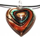 Murano Glass Copper Orange Swirl Heart Pendant Necklace NP122