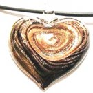 Murano Glass Black Copper Swirl Heart Pendant Necklace NP123