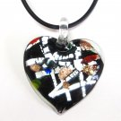 Black Murano Glass Heart Pendant Necklace NP124