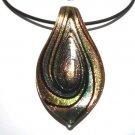 """2.5"""" Murano Glass Copper Blue Pendant Necklace NP126"""