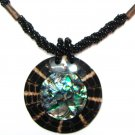 Mother of Pearl Coconut Disc Beaded Pendant Necklace NP158