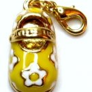 Adorable Yellow Baby Shoe 14K Gold EP Purse Charm Pendant NP161
