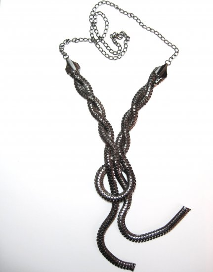"32"" Gunmetal Braided Mesh Chain Sweater Necklace NP940"