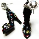 Stunning 3D Black Stiletto HIgh Heel Shoe CZ Pave Dangle Earrings EA29