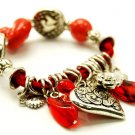 Heart Rose Lucite Beads Stretch Charm Bracelet BR37