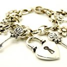 Two Tone Heart Lock Key Charm Bracelet BR76
