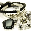 Chunky Leather Metal Crystal Flower Lucite Bead Charm Bracelet BR78