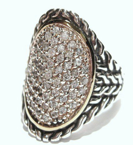 925 Sterling Silver Chunky Twisted Cable Designer Style CZ Ring WR101
