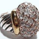 925 Sterling Silver Chunky  Designer Style Cable CZ Ring WR104 Sz 6